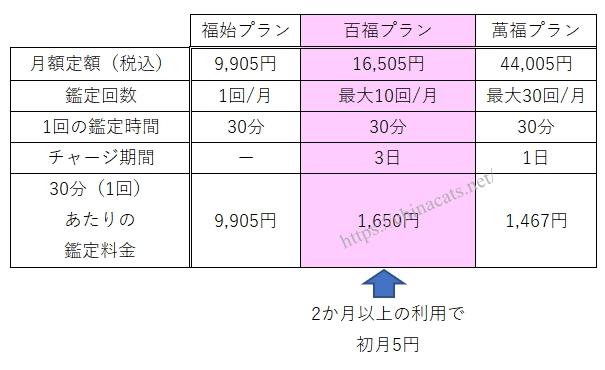 虹運 定額制料金のプラン表
